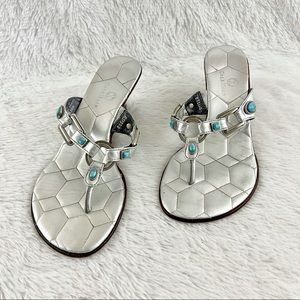 Cole Haan Turquoise Bead Silver Wedge Sandal
